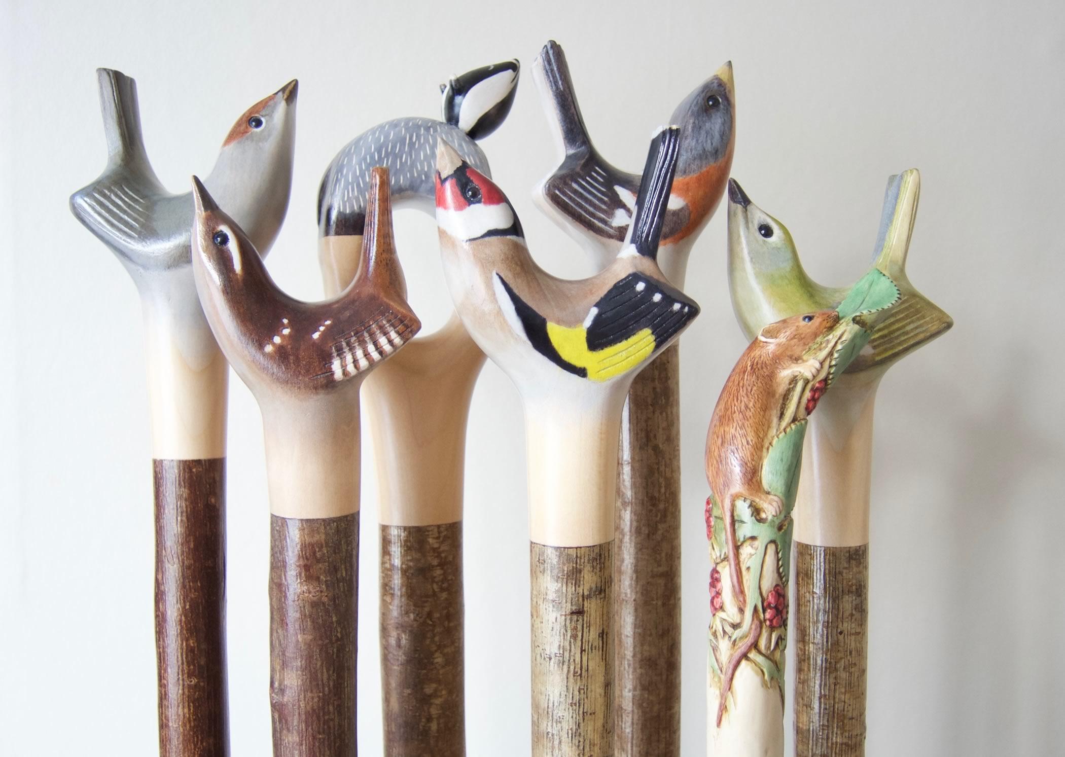 Garden birds and other wildlife walking stick art