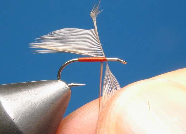 Offer up the feather to the hook to check barb length...